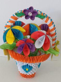 Panier de  fleurs multicolores Fabiola MD