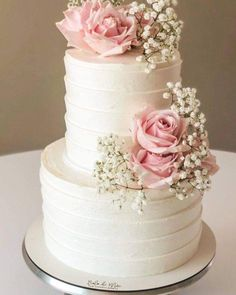 Small Wedding Cakes, Wedding Cake Roses, Floral Wedding Cakes, Wedding Cake Rustic, Elegant Wedding Cakes, Wedding Cake Designs, Strawberry Wedding Cakes, Pretty Cakes, Beautiful Cakes