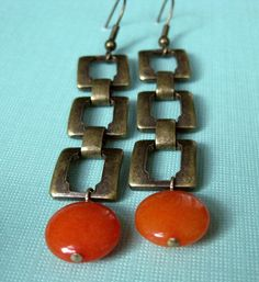 Square Brass Chain and Orange Jade Bead Dangle Earrings