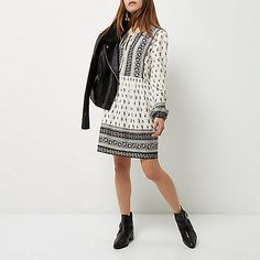 Petite black and white paisley print dress