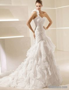 Trumpet/Mermaid One Shoulder Chapel Train Organza Wedding Dress with Ruffles Inspired by La Sposa Sala $268
