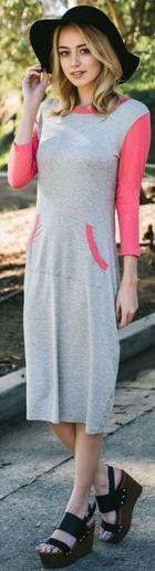 Cute midi length dress with pockets, modest dress