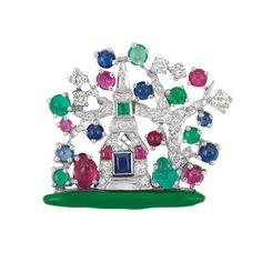 Platinum, Diamond, Gem-Set and Green Enamel Pin, Raymond C. Yard
