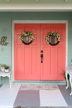 Loving these bright front doors! So easy to make a statement w/bold front door paint choices using Curb Appeal paint. Such cheery front doors on a colorful porch. Coral Front Doors, Coral Door, Painted Front Doors, Front Door Colors, Glass Front Door, Front Door Decor, Glass Doors, Exterior House Colors, Exterior Paint