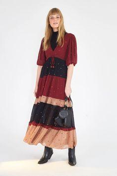 MIXED DOTS MAXI DRESS – Farm Rio Caftan Dress, Shirt Dress, Beloved Clothing, Virginia, Farm Rio, Half Sleeves, Cotton Linen, Dresses For Sale, Wrap Dress