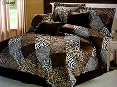 7 Pieces Multi Animal print Comforter set KING size Bedding Brown, Black, White -Zebra, Leopard, Tiger, Cheetah Etc.