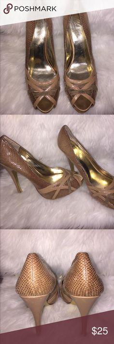 Nude Heels Tan snake skin patterned heels Charles David Shoes Heels