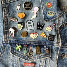 Instagram photo by pintrill - Never have too many.. This is what denim jackets were made for | This is how @_hughjasman_ pins, show us yours #howdoyoupin #pintrill