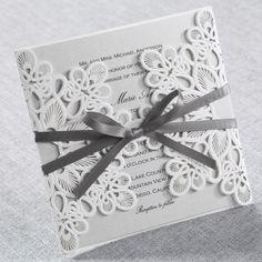 Elegant Laser Cut Wrap - Wedding Invitations