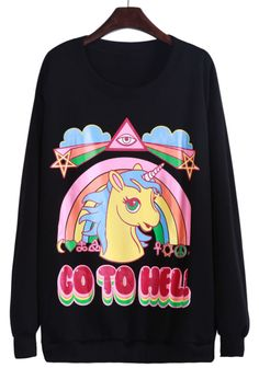 Black Long Sleeve Unicorn Rainbow Print Sweatshirt US$24.26