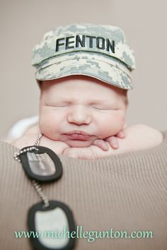 newborn army hat baby photography raleigh nc *sooooo want to do this with Ryan's stuff whenever we have kids!! Precious! !*