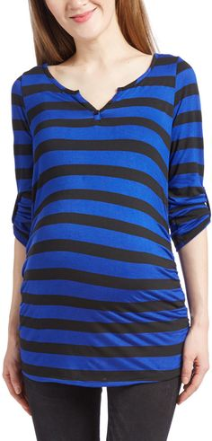 9226a77a71fa7 Black & Royal Stripe Maternity Scoop Neck Tee Maternity Tops, Scoop Neck,  Mom,