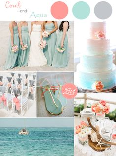 coral and aqua beach themed weddign color ideas for 2015