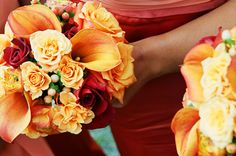 Orange rose and calla lily floral wedding bouquet, photo by La Vie Photography