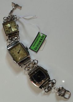 Steampunk Chic Recycled Vintage Watches Bracelet by Recycloanalyst, $35.00