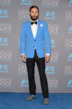 Jared Leto's eye-catching sky blue look on the Critics Choice Awards red carpet.