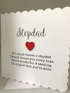 Handmade Stepdad Birthday/Fathers Day Card Father Birthday Cards, Handmade Birthday Cards, Birthday Gifts, Fathers Day Poems, Happy Fathers Day Dad, Paper Gift Bags, Paper Gifts, Personalized Fathers Day Gifts, Cupcake Gift