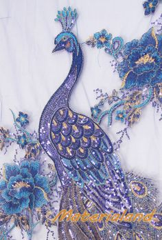 @@ Blue + Gold Phoenix Feather Pattern Sequined & Embroidered On Mesh Fabric.....or this one ..bit big tho for a cushion applique..but pretty