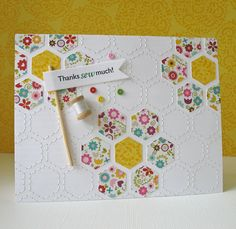 Hand stiching and printed design hexagons give this card the look of a real quilt.