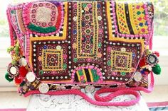 VINTAGE GYPSY BANJARA LARGE CLUTCH w. COINS RETAILS FOR $390- MANY CHO