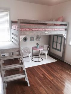 Ana white loft bed I made for my daughters room Girls Bedroom Decor Teenage Girl Bedrooms, Little Girl Rooms, Girls Bedroom With Loft Bed, Tween Girls, Trendy Bedroom, Girl Loft Beds, Kids Bedroom Ideas For Girls, 6 Year Old Girl Bedroom, Loft Bedroom Kids