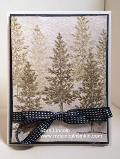 Dryer Sheet Christmas Card by slincoln ... snowy day effect ... brown stamped pine from Lovely as a Tree ... luv it!