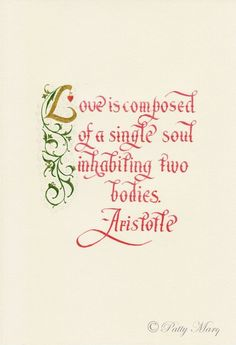 Love is composed of a single soul inhabiting two bodies. ~ Aristotle