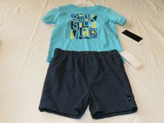 Quiksilver Boy's baby youth T shirt shorts set outfit 18 M month 4057016-99 blue #Quiksilver
