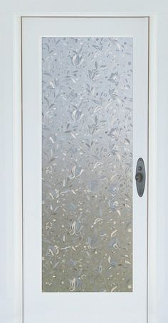Cut Glass Flowers Decorative Window Film brings an elegant floral print to your glass. Heavy-weight embossed material and a prismatic effect. Window In Shower, Shower Doors, Door Window Covering, Bathroom Windows, Glass Bathroom Door, Etched Glass Door, Glass Kitchen, Master Bathroom, Traditional Doors