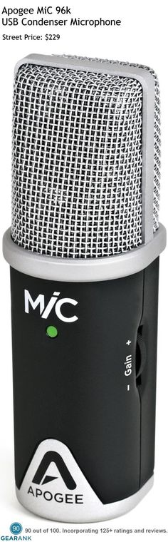 Apogee MiC 96k USB Condenser Microphone. The stand out feature of this mic is its Sampling Rate which can go up to 96 kHz with 24-bit depth. For a detailed guide to USB Mics see https://www.gearank.com/guides/usb-microphones