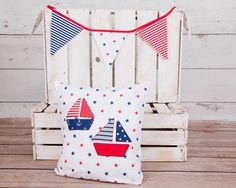 nautical pillowcase, decorative pillow cover, child pillowcase, white red navy