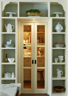 Walk in pantry with shelving for appliances.