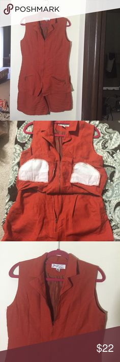 Beautiful one piece outfit ! 2 in 1 Top n short attached / overall outfit in gorgeous Rust color / size is 10 !    Both top n Bottom part has its own zipper with cute pockets on both sides. Hardly worn n is in new like condition                                                                                                            Only thing is that just a SMALL PIECE Of top Zipper is broken / NOT THE ZIPPER n u can easily zip it without any problem).   Very cute n elegant piece…