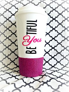 Be-YOU-tiful Mug Beautiful Glitter Mug by LoveInTheCityShop