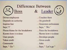 Difference between Boss and Leader. So true all you first timers being a Boss means you have a lot of room to grow. Be a Leader it's higher than a Boss. Boss Vs Leader, Leader In Me, Scout Leader, Steve Jobs, Environment Quotes, Leader Quotes, Teamwork Quotes, Leadership Development, Leadership Qualities