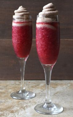 Raspberry Red Wine Slushy With Chocolate Whipped Cream -- From vodka to tequila and everything in between, these cocktail slushies recipes will keep you cool all summer long. Party Drinks, Cocktail Drinks, Fun Drinks, Alcoholic Drinks, Red Wine Cocktails, Sweet Cocktails, Drinks Alcohol, Alcohol Recipes, Girls Night Drinks