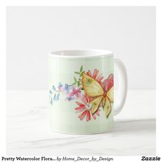 Pretty Watercolor Floral Butterfly Personalized Coffee Mug