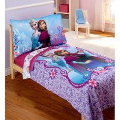 Disney Frozen Elsa & Anna 4pc Toddler Bedding Set - Walmart.com