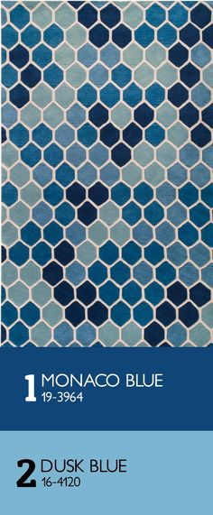 modernrugs.com We love the Monaco Blue and Dusk Blue color tones in this Paule Marrot Tiled Area Rug