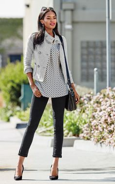 Wear to work  Shirt is cute, but I wouldn't wear the jacket--I would prefer an open cardigan.