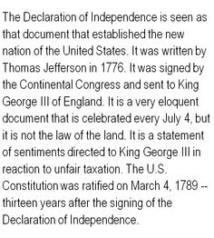 comparison between the declaration of independence Declaration of independence: making comparisons name: prudence indeed will dictate that governments long established should not be changed for light & transient.