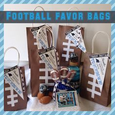 Football Favor Bags Football Favors, Birthday Thanks, Favor Bags, Party Fashion, Parties, Gift Wrapping, How To Make, Gifts, Gift Wrapping Paper