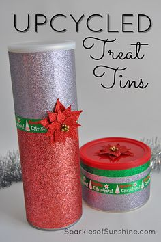 Give out your handmade treats in festive upcycled treat tins this year. It's easy to make these containers beautiful for the season of giving. via @christieselken