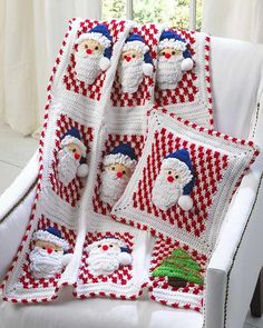 Santa Afghan Wall Hanging and Pillow Crochet PatternFamily and friends will be thrilled with the holiday items you create to decorate your home. Santa Afghan Wall Hanging and Pillow crochet set will keep the thrill going. A holiday afghan that Crochet Santa, Holiday Crochet, Crochet Hooks, Knit Crochet, Crochet Afghans, Crochet Blankets, Irish Crochet, Crochet Pillow, Crochet Squares