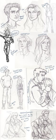 Divergent Tris and Four sketch dump / fan artwork