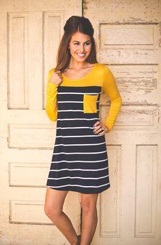 Dottie Couture Boutique - Navy/Mustard Pocket Tunic Dress, $32.00 (http://www.dottiecouture.com/navy-mustard-pocket-tunic-dress/)
