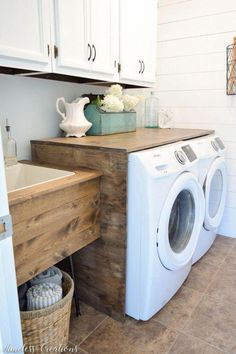 gorgeous 50 rustic farmhouse laundry room decor ideas s cottage style home alape bucket sink with navy trim in 2019 e added shelf can make all the dif. Laundry Room Layouts, Laundry Room Organization, Laundry Room Design, Laundry Room Shelves, Laundry Room With Sink, Laundry Storage, Basement Laundry, Farmhouse Laundry Room, Laundry Closet