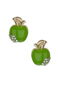 elegantly simple with a tiny diamond burst GREEN APPLE STUDS