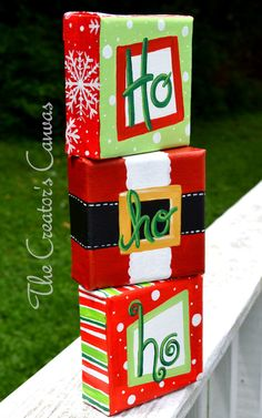Ho-Ho-Ho Set of 3 Santa Canvas Ornaments, Hand-painted decor, Use it as a prop with your child's Christmas picture