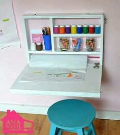 This would be really fun to make, and put a dry erase board on the side that's visible once it's folded up